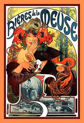 Bieres De Le Meuse Poster by Alphonse Maria Mucha
