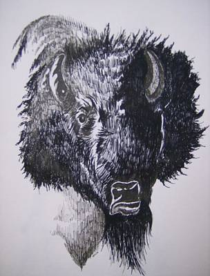 Poster featuring the drawing Big Bad Buffalo by Leslie Manley
