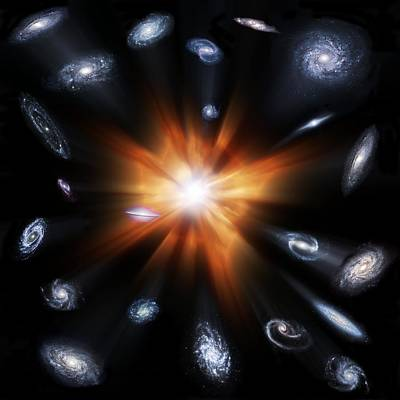 Big Bang And Galaxies, Artwork Poster by Science Photo Library