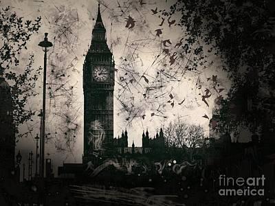 Big Ben Black And White Poster