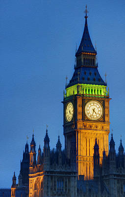 Big Ben London Digital Painting  Poster by Matthew Gibson