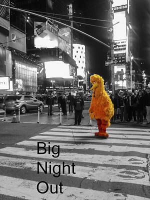 Big Birds Big Night Out In Nyc Black And White Poster by Scott Campbell