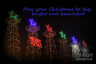 Big Bright Christmas Greeting  Poster by Kathy  White