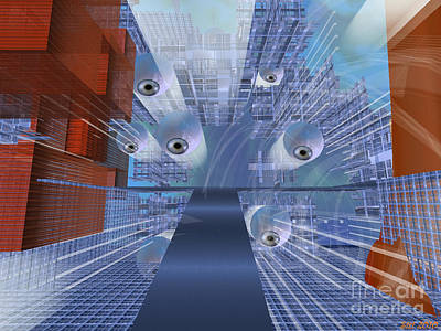 Poster featuring the digital art Big Brother Is Watching by Susanne Baumann