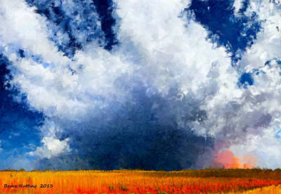 Poster featuring the painting Big Cloud In A Field by Bruce Nutting
