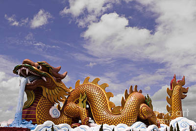 Big Dragon Statue And Blue Sky With Cloud In Thailand Poster by Tosporn Preede
