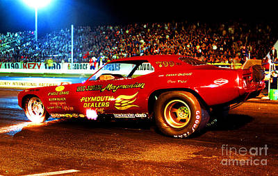 Big John Mazmanian Cuda Funny Car Orange County Raceway 1970s Poster by Howard Koby