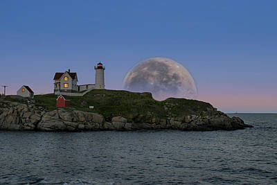 Big Moon Over Nubble Lighthouse Poster