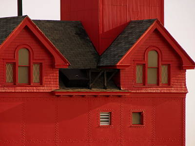 Big Red Holland Harbor Light Michigan Poster by Michelle Calkins