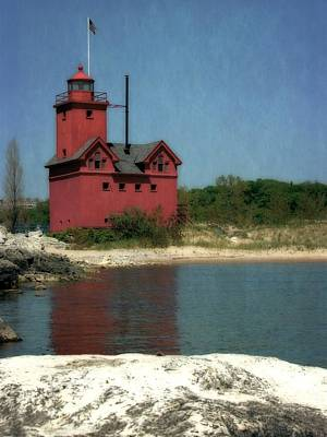 Big Red Holland Michigan Lighthouse Poster by Michelle Calkins