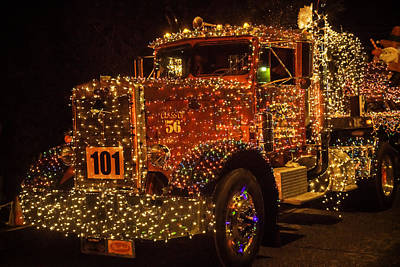 Big Rig With Christmas Lights Poster by Garry Gay