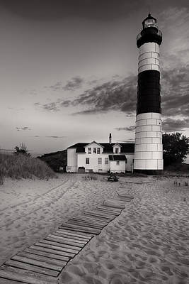 Big Sable Point Lighthouse In Black And White Poster