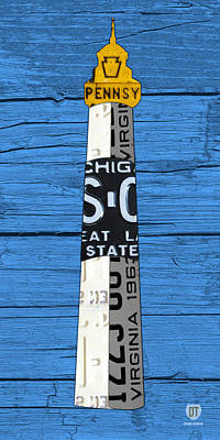 Big Sable Point Lighthouse Michigan Great Lakes License Plate Art Poster by Design Turnpike