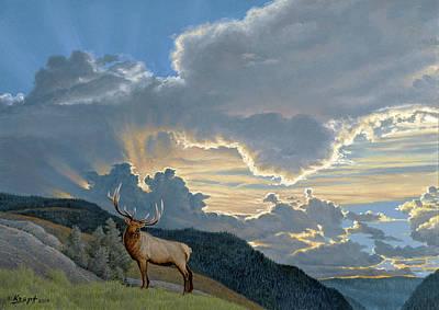Big Sky-bull Elk Poster by Paul Krapf