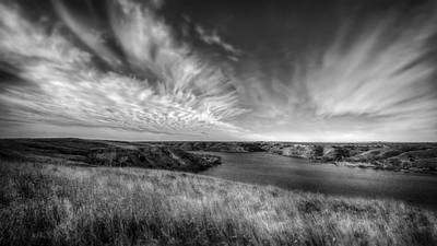 Big Sky Country In Black And White Poster