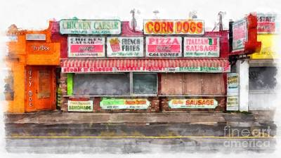 Big Steve's Italian Sausage Hampton Beach Boardwalk Poster by Edward Fielding