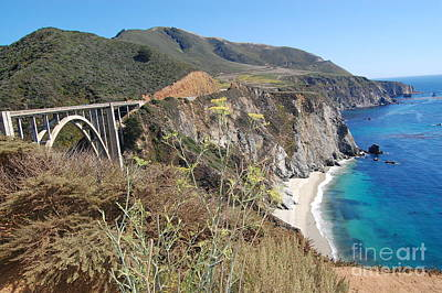 Poster featuring the photograph Big Sur Bixby Bridge And Beach by Debra Thompson
