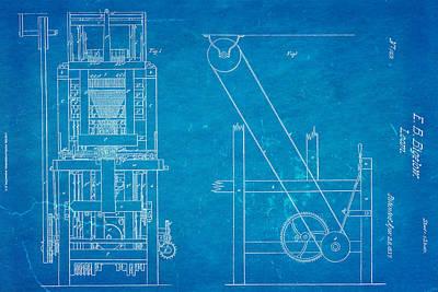 Bigelow Loom Patent Art 1837 Blueprint Poster