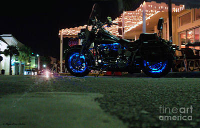 Poster featuring the photograph Bike Night In Blue Light by Megan Dirsa-DuBois