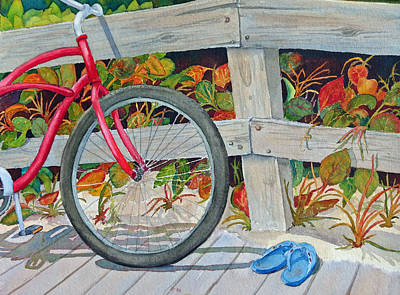 Bike To The Beach Poster by Judy Mercer
