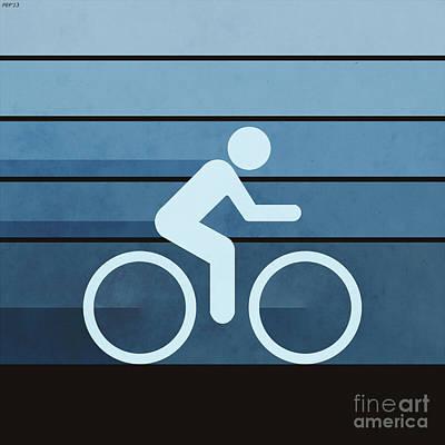 Biking Blue Poster by Phil Perkins
