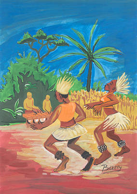Poster featuring the painting Bikutsi Dance 2 From Cameroon by Emmanuel Baliyanga