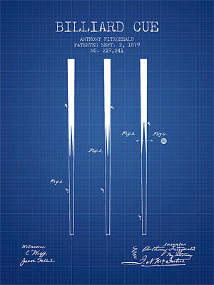 Billiard Cue Patent From 1879 - Blueprint Poster by Aged Pixel