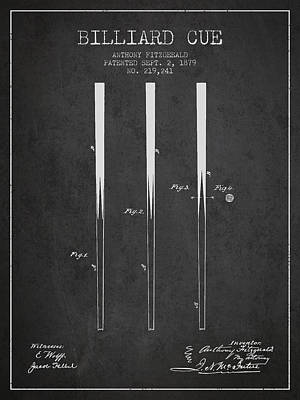 Billiard Cue Patent From 1879 - Charcoal Poster by Aged Pixel