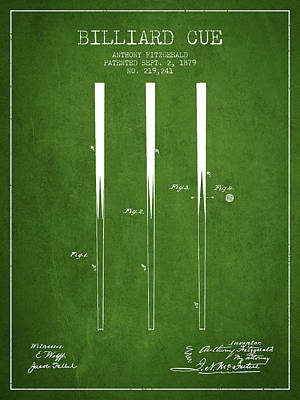Billiard Cue Patent From 1879 - Green Poster by Aged Pixel