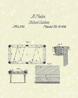 Billiard Cushion 1856 Patent Art Poster by Prior Art Design