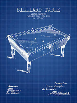 Billiard Table Patent From 1880 - Blueprint Poster by Aged Pixel