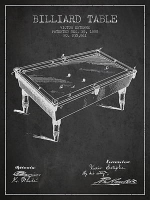 Billiard Table Patent From 1880 - Charcoal Poster by Aged Pixel
