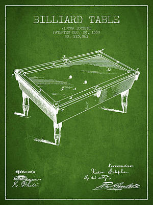 Billiard Table Patent From 1880 - Green Poster by Aged Pixel