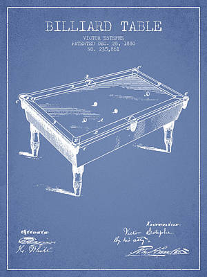 Billiard Table Patent From 1880 - Light Blue Poster by Aged Pixel