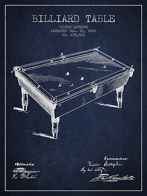 Billiard Table Patent From 1880 - Navy Blue Poster by Aged Pixel