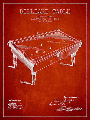 Billiard Table Patent From 1880 - Red Poster by Aged Pixel