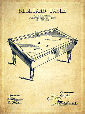 Billiard Table Patent From 1880 - Vintage Poster by Aged Pixel