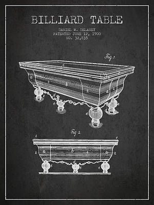 Billiard Table Patent From 1900 - Charcoal Poster by Aged Pixel