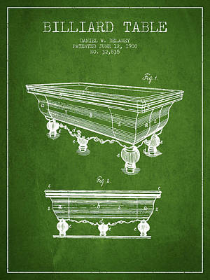 Billiard Table Patent From 1900 - Green Poster by Aged Pixel