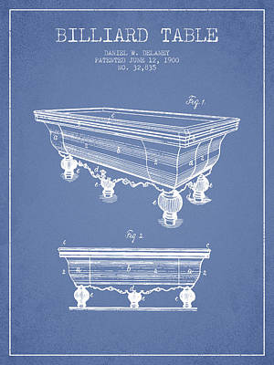 Billiard Table Patent From 1900 - Light Blue Poster by Aged Pixel