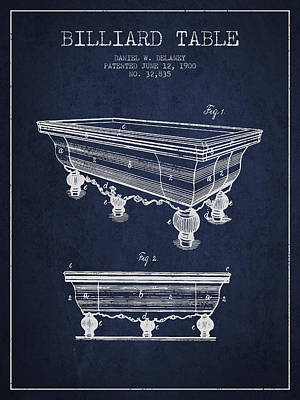 Billiard Table Patent From 1900 - Navy Blue Poster by Aged Pixel