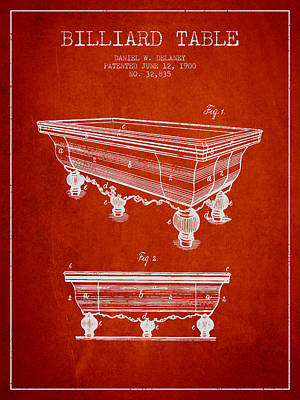 Billiard Table Patent From 1900 - Red Poster by Aged Pixel