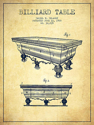 Billiard Table Patent From 1900 - Vintage Poster by Aged Pixel