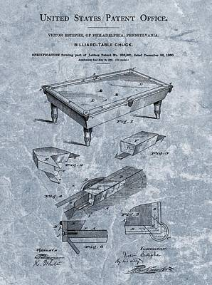 Billiards Table Patent Blue Poster