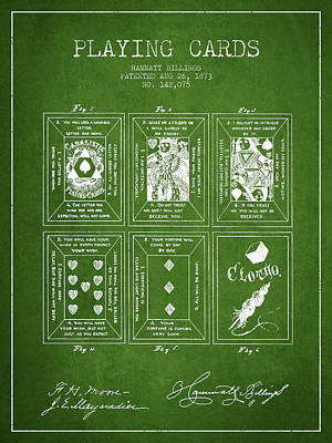 Billings Playing Cards Patent Drawing From 1873 - Green Poster by Aged Pixel