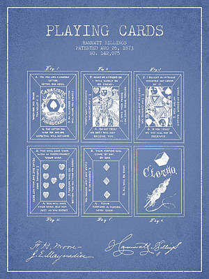 Billings Playing Cards Patent Drawing From 1873 - Light Blue Poster