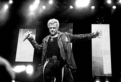 Billy Idol Black And White Live In Concert 4 Poster by Jennifer Rondinelli Reilly - Fine Art Photography