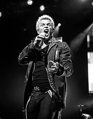 Billy Idol Black And White Live In Concert 5 Poster by Jennifer Rondinelli Reilly - Fine Art Photography