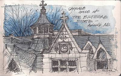 Poster featuring the mixed media Biltmore Carriage House by Tim Oliver