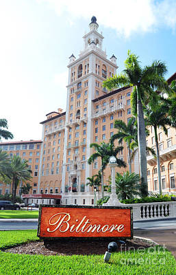Biltmore Hotel Facade And Sign Coral Gables Miami Florida Poster by Shawn O'Brien